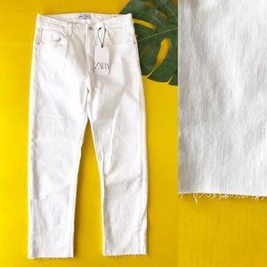 Zara Hi Rise Ankle Length White Jeans Raw Hem 8